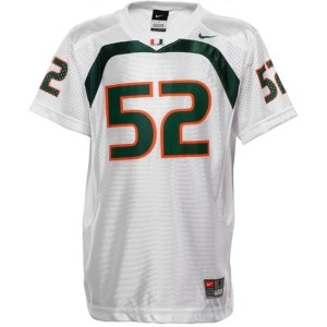 Men Miami Hurricanes #52 Ray Lewis White Nike Stitch Jersey