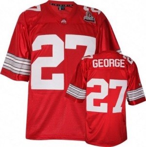 Nike Ohio State Buckeyes #27 Eddie George Men Stitch Jersey - Red
