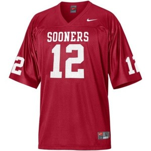 Nike Oklahoma Sooners #12 Landry Jones Men Stitch Jersey - Red