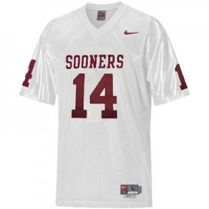 Men Oklahoma Sooners #14 Sam Bradford White Nike Stitch Jersey