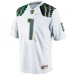 Men Oregon Ducks #1 Josh Huff White Nike Stitch Jersey