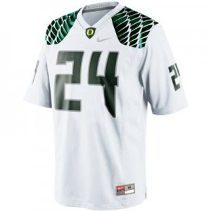 Men Oregon Ducks #24 Kenjon Barner White Nike Stitch Jersey