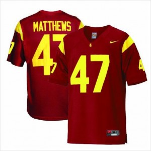 Nike USC Trojans #47 Clay Matthews Men Stitch Jersey - Red