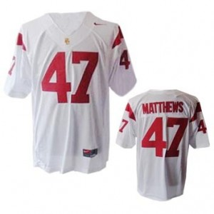 Youth(Kids) USC Trojans #47 Clay Matthews White Nike Jersey