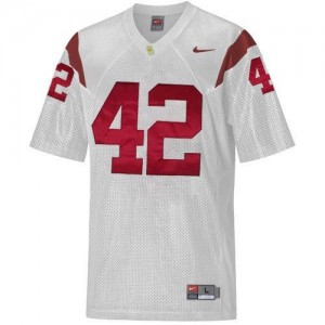 Men USC Trojans #42 Ronnie Lott White Nike Stitch Jersey