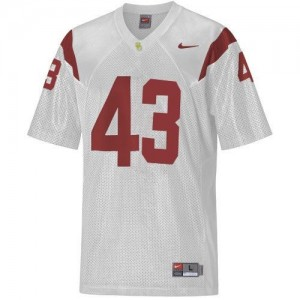 Men USC Trojans #43 Troy Polamalu White Nike Stitch Jersey