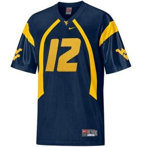 West Virginia Mountaineers Geno Smith #12 Blue Men Stitch Jersey Nike