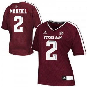 Texas A&M Aggies #2 Johnny Manziel Maroon Womens Jersey Adidas