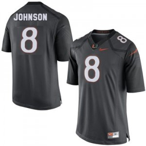 Miami Hurricanes Duke Johnson #8 Gray Men 2014 Stitch Jersey Nike