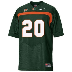Miami Hurricanes Ed Reed #20 Green Youth(Kids) Jersey Nike