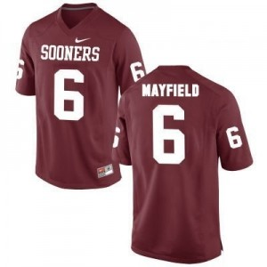 Nike Oklahoma Sooners #6 Baker Mayfield Men Stitch Jersey - Red