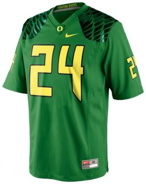Oregon Ducks Kenjon Barner #24 Apple Green Men Stitch Jersey Nike