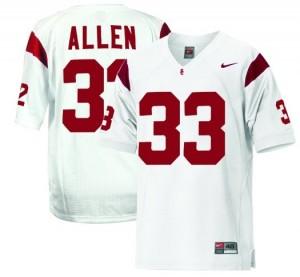 Men USC Trojans #33 Marcus Allen White Nike Stitch Jersey