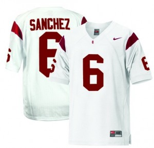 Men USC Trojans #6 Mark Sanchez White Nike Stitch Jersey