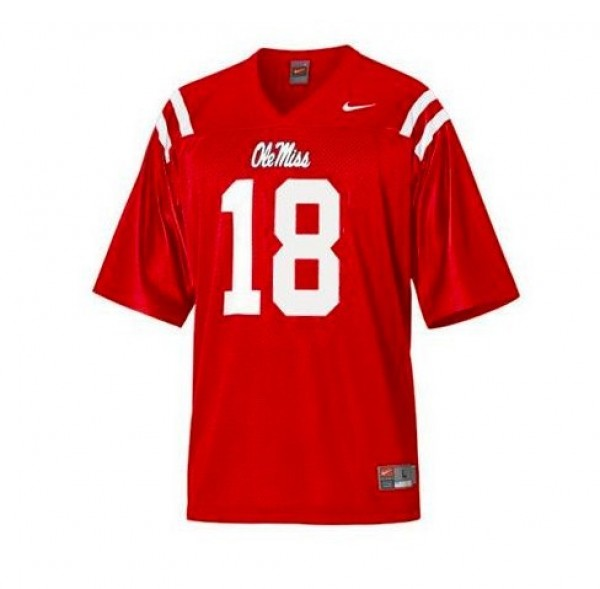Nike Ole Miss Rebels #18 Archie Manning Men Stitch Jersey - Red
